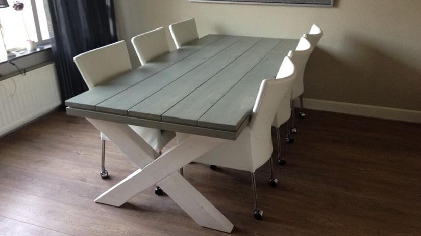 Eettafel met ingelegd hout eiken tafel met kruispoot restylexl industriele tafel hoog pictures - Eettafel en houten eetkamer ...